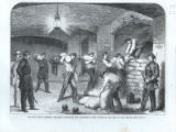 The Civil War in America: repairing damages in the casemates of Fort Sumter on the night of the...
