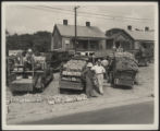 Assembly Street, trucks with peaches and corn, 1946