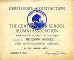 Certificate of Distinction, Central High School Alumni Association, Jan 2, 1939