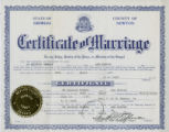Marriage record and marriage license application for DeQuincey Newman and Ann Hinton