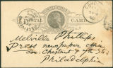 [Postcard; Camden, 2 February 1890, Walt Whitman to Melville Phillips]