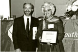 Betty Callaham receiving a certificate of appreciation award at the 1990 South Carolina Library...