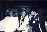 Attendees at a booth at the 1995 South Carolina Library Association conference in Columbia