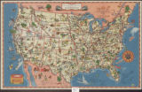 A good-natured map of the United States: setting forth the services of the Greyhound Lines and a...