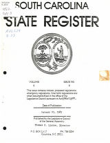 South Carolina state register, volume 5, issue 2, January 23, 1981