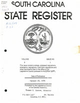 South Carolina state register, volume 5, issue 1, January 16, 1981