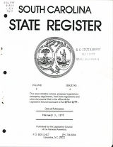 South Carolina state register, volume 2, issue 2, February 3, 1978