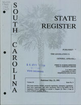 South Carolina state register, volume 16, issue 5, May 22, 1992