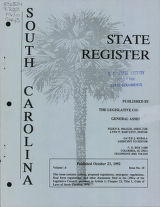 South Carolina state register, volume 16, issue 10, October 23, 1992