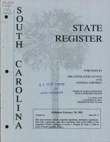 South Carolina state register, volume 16, issue 2, February 28, 1992