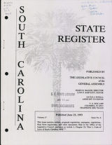 South Carolina state register, volume 17, issue 6, June 25, 1993