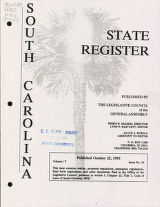 South Carolina state register, volume 17, issue 10, October 22, 1993