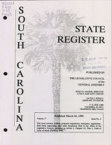South Carolina state register, volume 17, issue 3, March 26, 1993