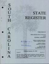 South Carolina state register, volume 17, issue 1, January 22, 1993