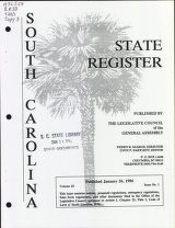 South Carolina state register, volume 20, issue 1, January 26, 1996