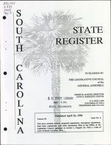 South Carolina state register, volume 20, issue 4, April 26, 1996