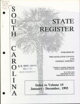 South Carolina state register, index to volume 19, January - December, 1995
