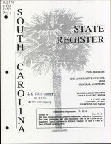 South Carolina state register, volume 20, issue 9, September 27, 1996
