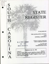 South Carolina state register, volume 20, issue 7, July 26, 1996