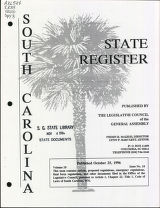 South Carolina state register, volume 20, issue 10, October 25, 1996