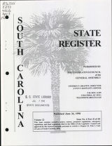 South Carolina state register, volume 22, issue 6, part 2 of 3, June 26, 1998