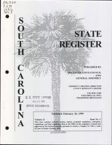 South Carolina state register, volume 23, issue 2, February 26, 1999