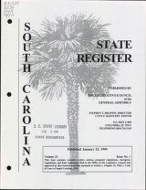 South Carolina state register, volume 23, issue 1, January 22, 1999