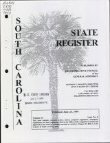 South Carolina state register, volume 23, issue 6, June 25, 1999