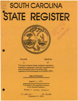 South Carolina state register, volume 3, issue 17, August 1, 1979