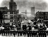 Columbia's Police and Fire Departments, pose in front of the State House c. 1904