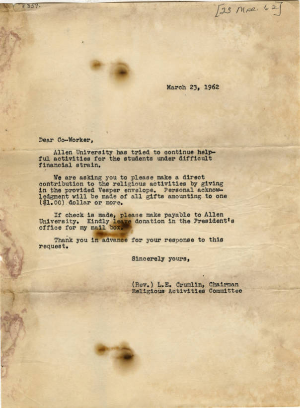 Letter, 1962 March 23, Rev  L  E  Crumlin to co-worker of