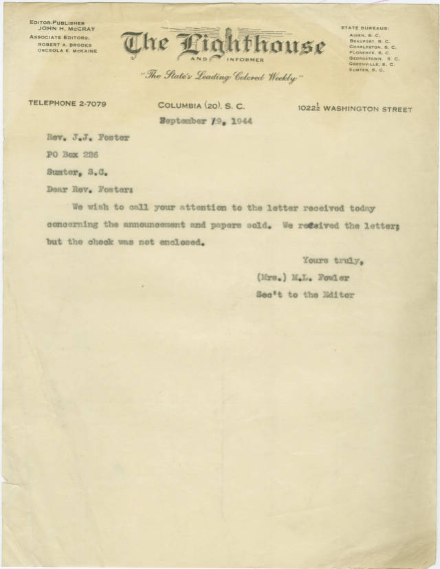 Letter 1944 September 19 Letter From M L Fowler Secretary To The Editor Of The Lighthouse To Rev Foster About Payment For The Publication John Henry Mccray Papers 1929 1989 Uofsc Digital Collections