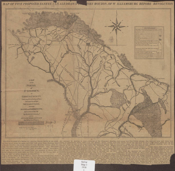 Map of five proposed Santee canals drawn [by Henry] Mouzon ...