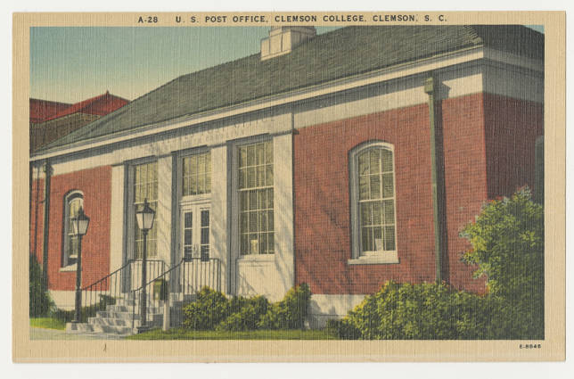 U S Post Office Clemson College Clemson S C Front South Carolina Postcards Uofsc Digital Collections