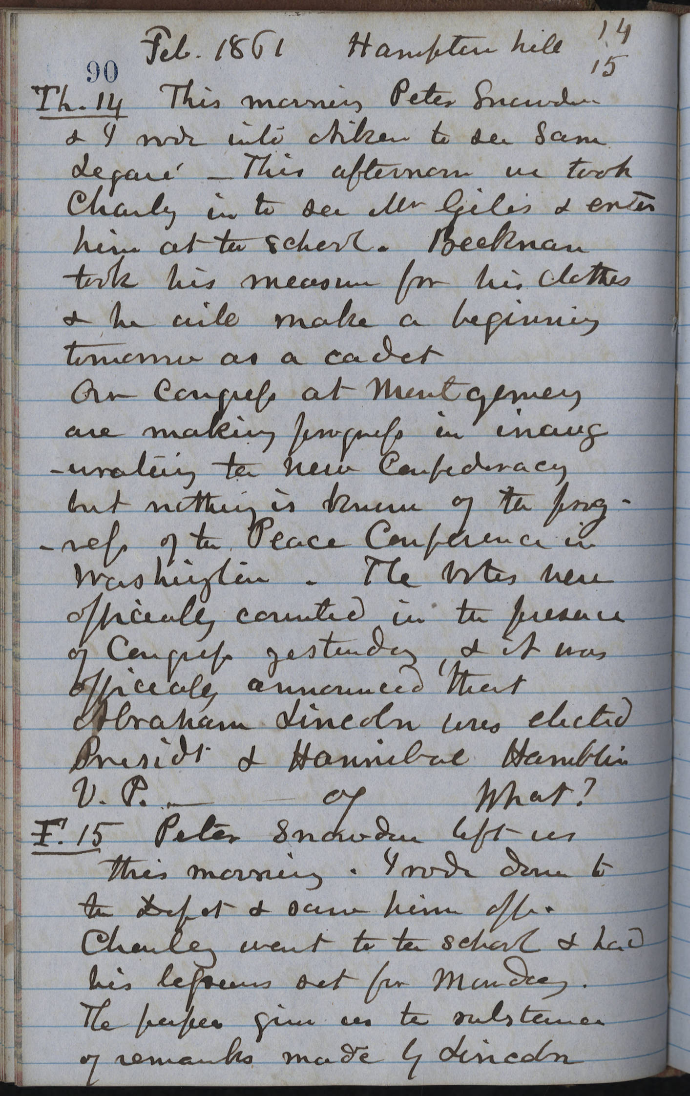 Henry William Ravenel, 1814-1887: Private Journal 1860-1861:Page 90
