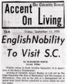 British Nobility to visit S.C. clipping